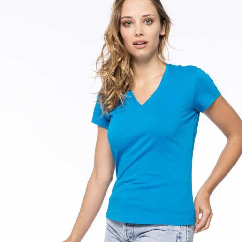 tshirt col v bleu personnalisé